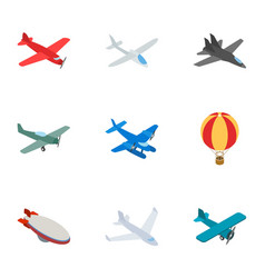 Airplane icons isometric 3d style vector