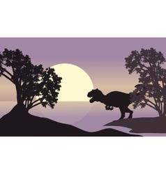 Allosaurus in riverbank scenery silhouette vector