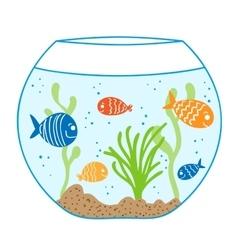 Aquarium doodle seamless pattern vector image