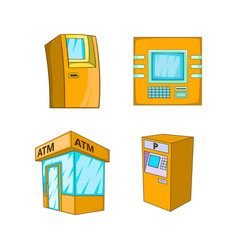 atm icon set cartoon style vector image