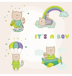 Baby cat set - shower or arrival card vector