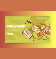 barista courses landing page template online vector image