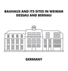 Bauhaus dessau germany line icon concept vector