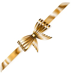 Beautiful striped golden shiny bow vector image