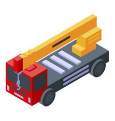 Big truck crane icon isometric style vector