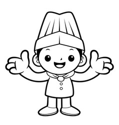 Black and white funny chef mascot welcome vector