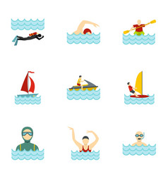 Boating and swimming icons set flat style vector