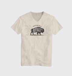 buffalo american wild t-shirt design template vector image