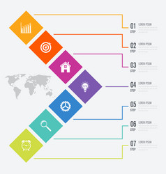 Business infographics template 7 steps with square vector