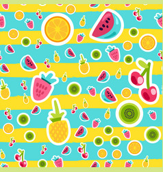 cartoon fruits stickers seamless pattern vector image