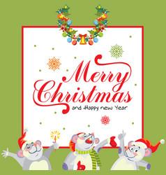 Christmas mousy frame 3 vector
