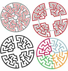 circle and arc maze puzzle vector image vector image