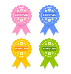 colorful raw food rosettes on white background vector image