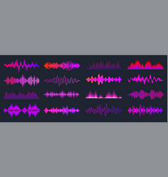 colorful sound waves collection analog vector image