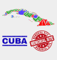Composition cuba map symbol mosaic and grunge vector