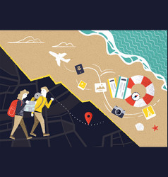 couple looking at map while on vacation vector image