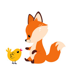 Cute little fox playing with yellow chick vector