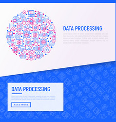 data processing concept in circle vector image
