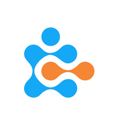 dot lock key letter c logo icon vector image