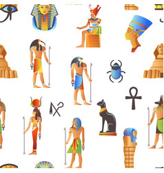 egypt and egyptian mythological signs seamless vector image