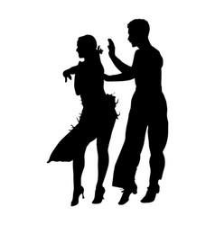 Elegance tango latino dancers couple silhouette vector