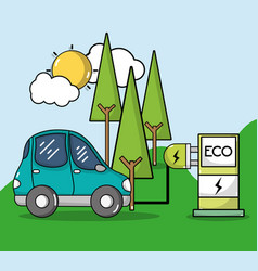Energy recharge station with electric car vector