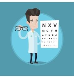 Essional ophthalmologist holding eyeglasses vector