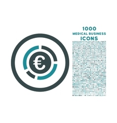 Euro Financial Diagram Rounded Icon with 1000 vector