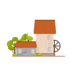 Exterior of watermill with water wheel isolated on vector