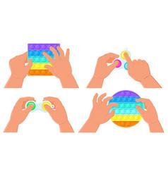 fidget simple dimple and pop it toys kids hands vector image