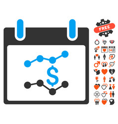 Financial charts calendar day icon with lovely vector