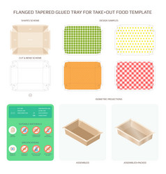 Flanged tapered glued tray for take out food vector