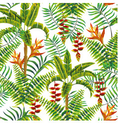 flowers leaves tropical jungle seamless pattern vector image