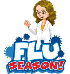 Font design for word flu season with happy doctor vector
