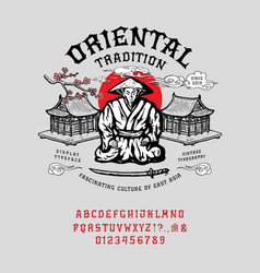 Font oriental tradition vector