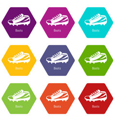 football boots icons set 9 vector image