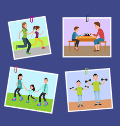 Four family s pictures fixed on color paper clips vector