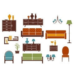 Furniture and home interior flat design elements vector image