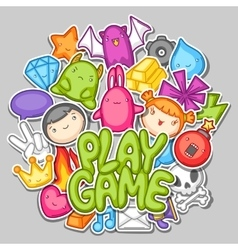 Game kawaii design Cute gaming elements objects vector