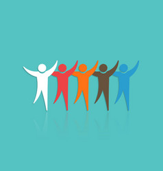 group of people with raised hands concept for vector image