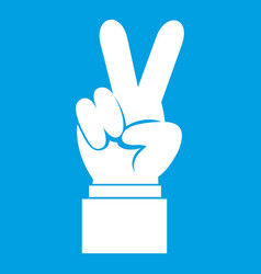 hand with victory sign icon white vector image