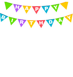 happy birthday banner with colorful flags vector image