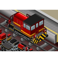 Isometric Red Train in Rear View vector image