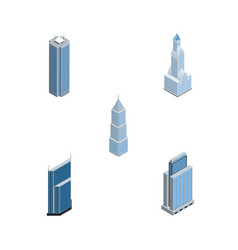 isometric skyscraper set of exterior cityscape vector image