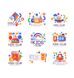 Kids club logo original set colorful creative vector