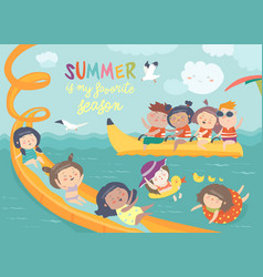 Kids playing and enjoying at waterpark in summer vector