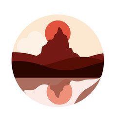 landscape nature peak mountain sun reflection in vector image
