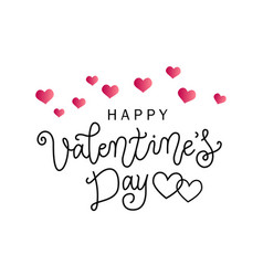 Lettering of happy valentines with pink hearts vector