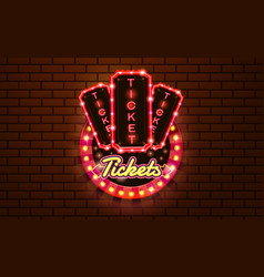 light sign ticket booth brickwall background vector image