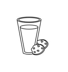 Line delicious milk with chocolate cookies vector